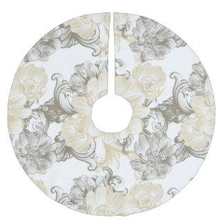 Vintage Victorian Beige floral vines pattern Brushed Polyester Tree Skirt