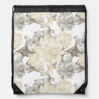 Vintage Victorian Beige floral vines pattern Drawstring Bag