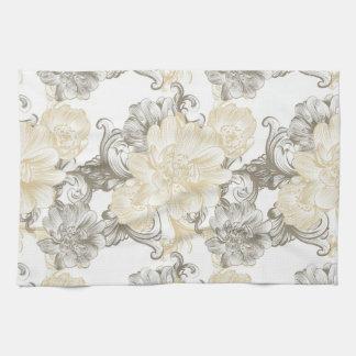 Vintage Victorian Beige floral vines pattern Tea Towel