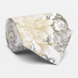Vintage Victorian Beige floral vines pattern Tie