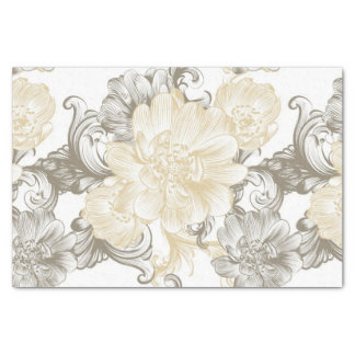 Vintage Victorian Beige floral vines pattern Tissue Paper