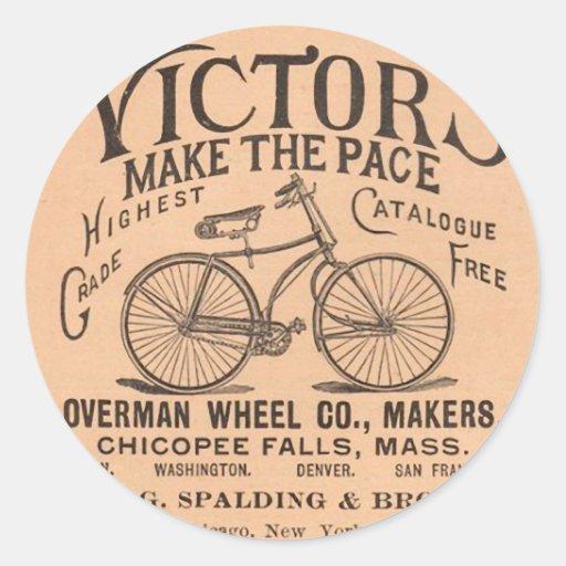 Vintage Victorian Bicycle Advertisement Round Sticker