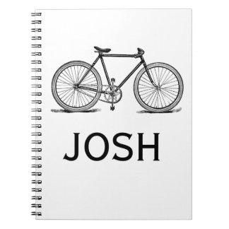 Vintage/Victorian Bike Engraving Personnalised Spiral Notebook