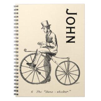 Vintage/Victorian Boneshaker Cyclist Personnalised Spiral Notebook