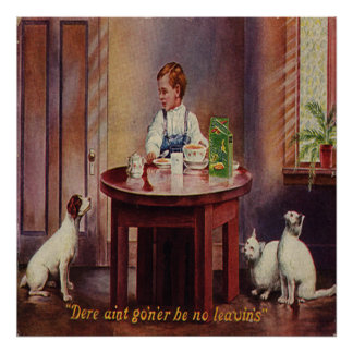 Vintage Victorian Boy w/Cats, Dog Art Print Poster