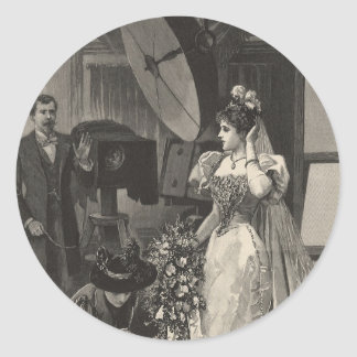 Vintage Victorian Bride, Bridal Portrait Round Stickers