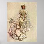 Vintage Victorian Bride Flowers, Bridal Portrait Poster
