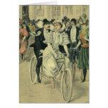 Vintage Victorian Bride Groom Bicycle Thank You Greeting Card