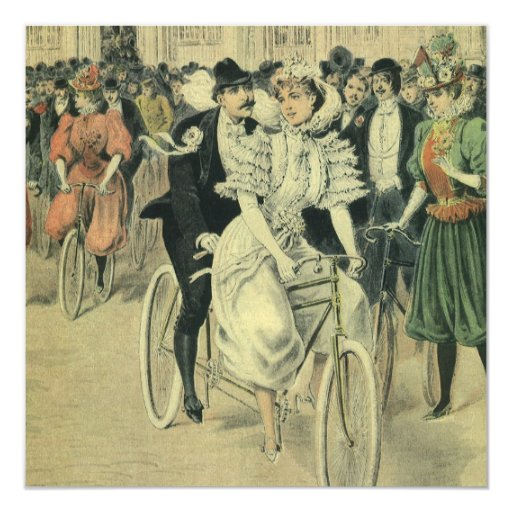 Vintage Victorian Bride Groom Ride Tandem Bicycle 13 Cm X 13 Cm Square Invitation Card