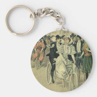 Vintage Victorian Bride Groom Ride Tandem Bicycle Key Chains