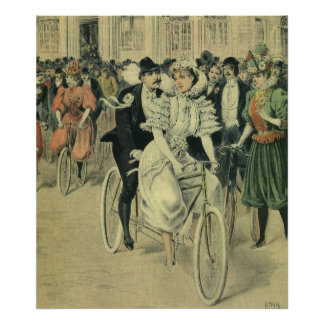 Vintage Victorian Bride Groom Ride Tandem Bicycle Poster