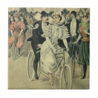 Vintage Victorian Bride Groom Ride Tandem Bicycle Ceramic Tiles
