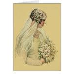 Vintage Victorian Bride in Profile Bridal Portrait Card