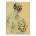 Vintage Victorian Bride in Profile Bridal Portrait Greeting Card