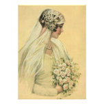 Vintage Victorian Bride in Profile Bridal Portrait Invitations