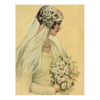 Vintage Victorian Bride in Profile Bridal Portrait Postcard