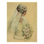 Vintage Victorian Bride in Profile Bridal Portrait Poster