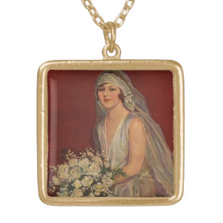 Vintage Victorian Bride Posing for Bridal Portrait Gold Plated Necklace