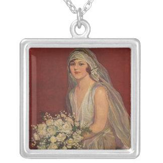 Vintage Victorian Bride Posing for Bridal Portrait Personalized Necklace