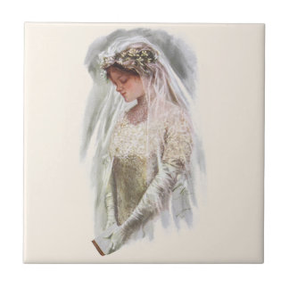 Vintage Victorian Bride with Bible Harrison Fisher Small Square Tile