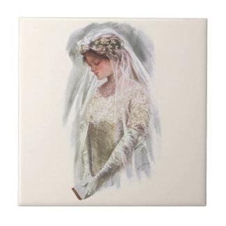 Vintage Victorian Bride with Bible Harrison Fisher Ceramic Tile