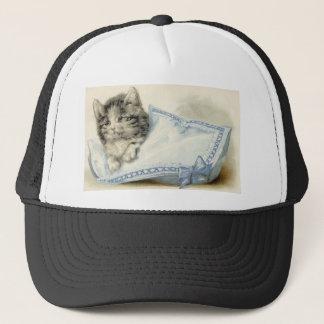 Vintage Victorian Cat Kitten Trucker Hat