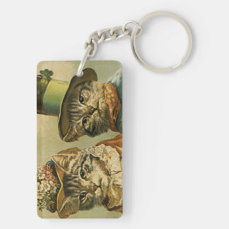 Vintage Victorian Cats in Hats, Funny Silly Humor Double-Sided Rectangular Acrylic Keychain