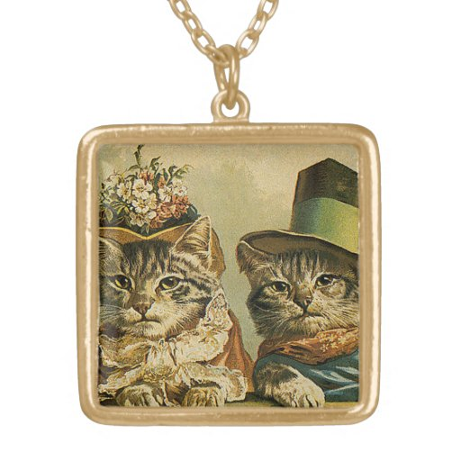 Vintage Victorian Cats in Hats, Funny Silly Humor Jewelry