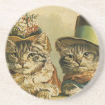Vintage Victorian Cats in Hats, Funny Silly Humour Coasters