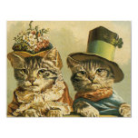 Vintage Victorian Cats in Hats, Funny Silly Humour Personalised Announcement