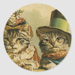 Vintage Victorian Cats in Hats, Funny Silly Humour Round Stickers
