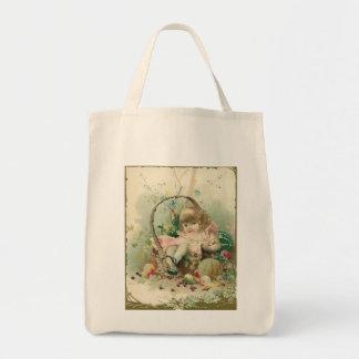 Vintage Victorian Child, Girl Spring Fruit Basket Tote Bags