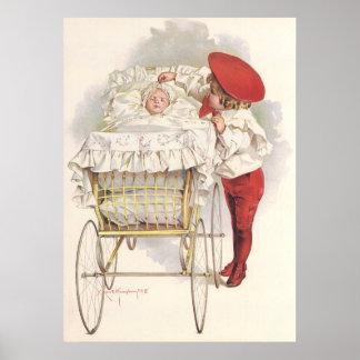 Vintage Victorian Children, Child and Baby in Pram Poster