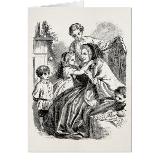 Vintage Victorian Children Women Illustration Card