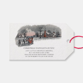 Vintage Victorian Christmas Carriage Snowy Holiday Gift Tags