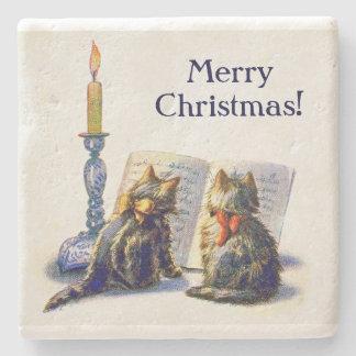 Vintage Victorian Christmas Cats Stone Beverage Coaster
