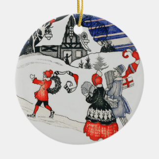 Vintage Victorian Christmas Family Holiday Snow Ceramic Ornament
