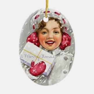 Vintage Victorian Christmas Girl Tree Ornament