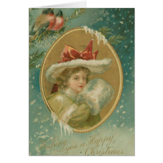 Vintage Victorian Christmas Lady Greeting Card