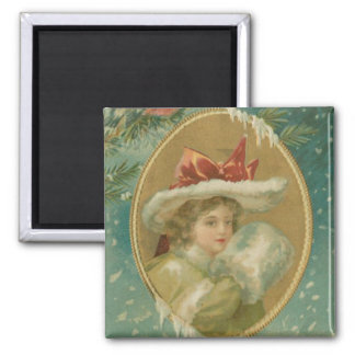 Vintage Victorian Christmas Lady Square Magnet