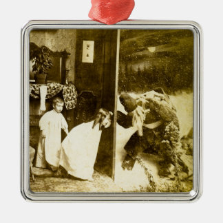 Vintage Victorian Christmas Santa and Kids Silver-Colored Square Decoration