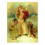 Vintage Victorian Christmas Santa Claus Kids Puppy Postcard
