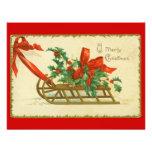 Vintage Victorian Christmas Sled Holly Invitation