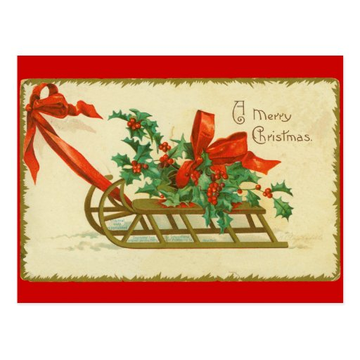 Vintage Victorian Christmas Sled n Holly Postcard