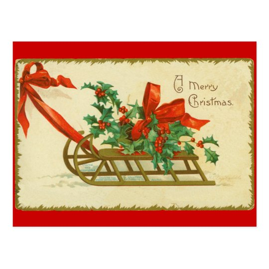 Vintage Victorian Christmas Sled n Holly Postcard