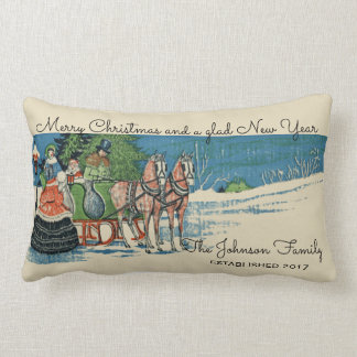 Vintage Victorian Christmas Sleigh Ride Family Lumbar Cushion