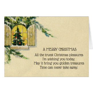 Vintage Victorian Christmas Tree Holiday Window Card