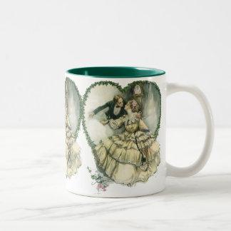 Vintage Victorian Christmas Wedding Two-Tone Mug