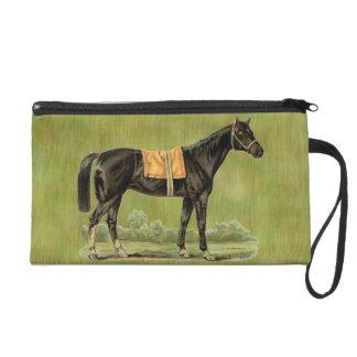 Vintage Victorian Country Chic Decor Black Horse Wristlet Purse