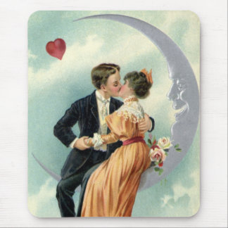 Vintage Victorian Couple Kiss on a Crescent Moon Mousepads